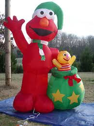 Halloween Blow Up Yard Decorations Canada by Rare 8 U0027 Lighted Christmas Sesame Street Elmo Inflatable Airblown