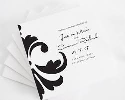 Damask Accent Tri Fold Wedding Programs Deposit In Black And White On Pearl Shimmer Luxury Cardstock