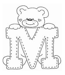 M Letter With Cute Teddy Bear Coloring Page