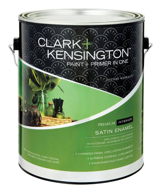 Clark+Kensington Satin Ultra White Ultra White Base Acrylic Latex Paint and Primer 1 gal.
