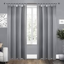 2er set vorhang blickdicht mit 8 schlaufen und raffhalter grau 135x245 cm