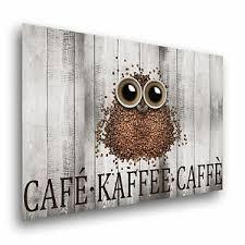 details zu the coffee owl leinwand poster kunstdruck wandbild küche kaffee eule