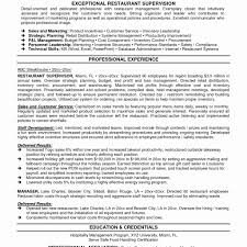 Food And Beverage Resume Examples Restaurant Supervisor Sample Intoysearch