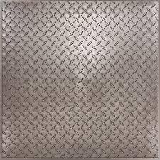 Ceilume Coffered Ceiling Tiles by Diamond Plate Faux Pewter By Ceilume