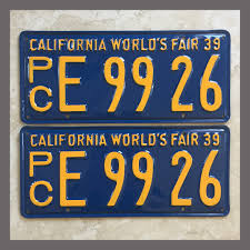 1939 California YOM License Plates For Sale - Restored Vintage Pair ...