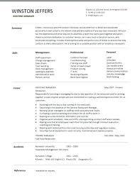 Restaurant Manager Resume Builder Resturant Sample