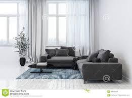 modernes wohnzimmer das sofas und blumentopf enthält stock
