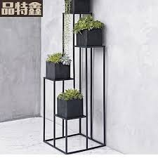 American Indoor Balcony Succulents Iron Flower Stand Simple Floor Tall Pot Rack Multifunction