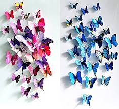 ElecMotive 12 Purple Blue 3D Butterfly Stickers Home Decoration DIY Removable Vivid Man