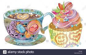 vektor tasse oder kaffee mit kuchen und abstrakte