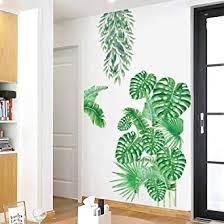 goodjinhh 2er set wandtattoo grün pflanze tropische verlässt wandsticker wohnzimmer schlafzimmer entfernbare groß blätter grüne fenstersticker