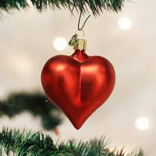 Large Matte Red Heart Ornament Old World Christmas
