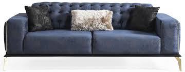 casa padrino luxus deco chesterfield sofa blau grau schwarz messingfarben 236 x 99 x h 86 cm edles wohnzimmer sofa mit dekorativen kissen
