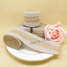 4pcs Jute Burlap Hessian Ribbon With Write Lace DIY Wedding Cake Topper Rustic Centerpieces Vintage