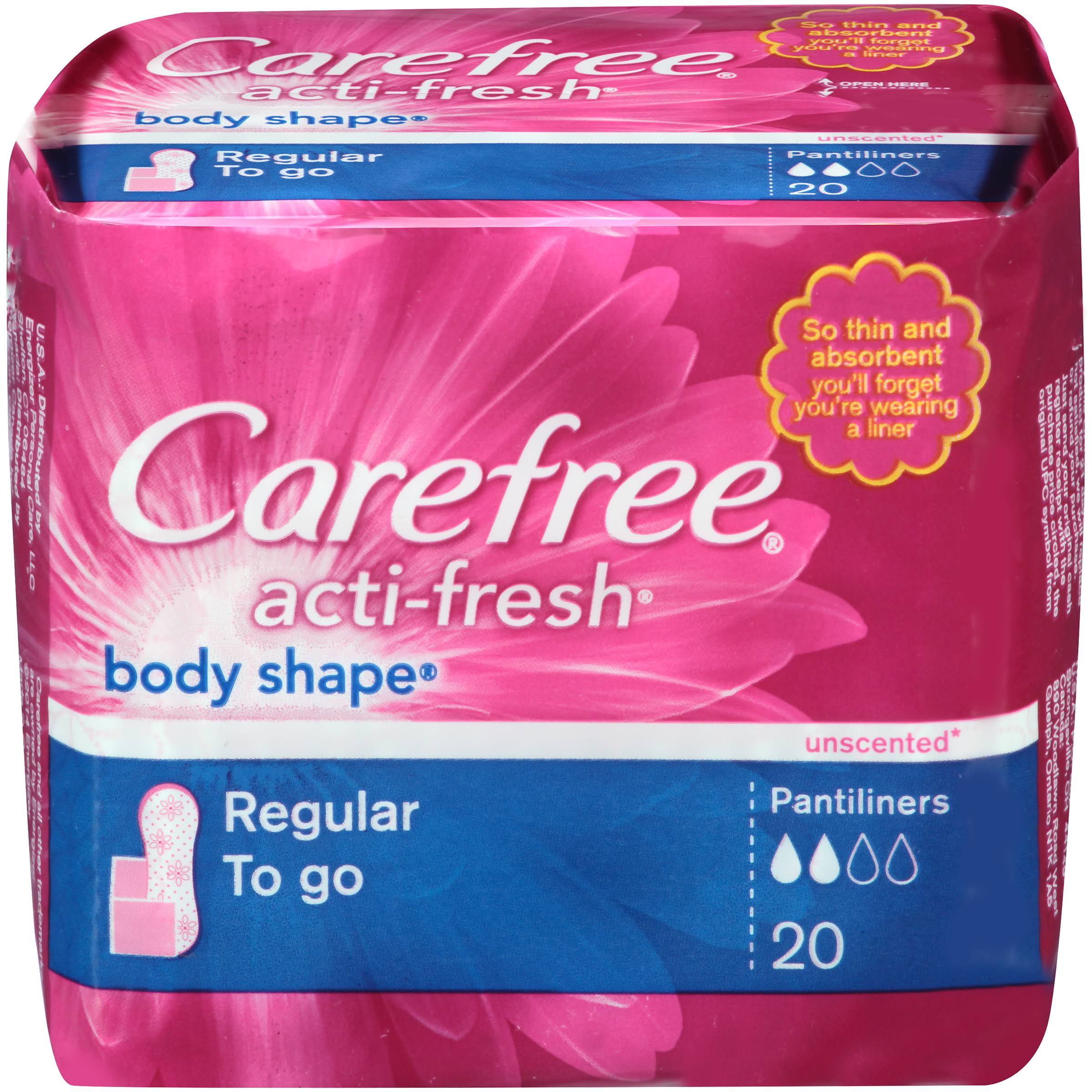 Carefree Acti-Fresh Pantiliners - x20, Regular, Unscented
