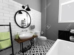 schwarz weiß badezimmer interieur