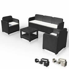 canap salon de jardin salon de jardin en polyrattan canapé table basse fauteuils 5 places