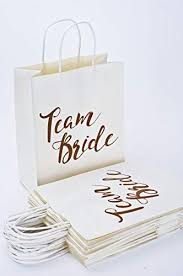 Famoby 15pcs Rose Gold Team Bride Paper Bag Bridesmaid Gift For Bachelorette Engagement Wedding Party Bridal Showers Decorations