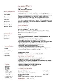 Kitchen Manager Resume Example Sample Cooking Food Dining Key