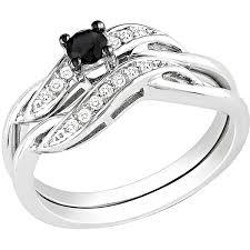 1 4 Carat T W Black and White Diamond Sterling Silver Bridal Ring Set Walmart