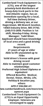 100 Cumberland Truck Equipment Delivery Driver Co Hagerstown MD