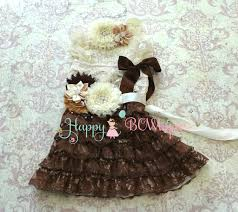 country flower girls dress u0027s rustic chocolate beige lace
