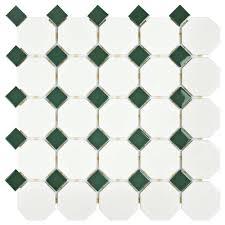 Home Depot Merola Penny Tile by Merola Tile Metro Octagon Matte White With Green 11 1 2 In X 11 1