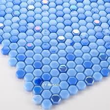 mediterranean iridescent blue hexagon glass mosaic walltile for