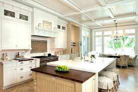 Beadboard Kitchen Island Ceiling With Traditional Seating