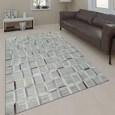 wohnzimmer teppich leder wolle modern muster viereck in grau