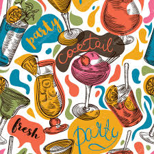 Seamless Pattern With Vintage Cocktails And Hand Drawn Lettering Cocktail Party Retro Colorful Vector Illustration By Kateja