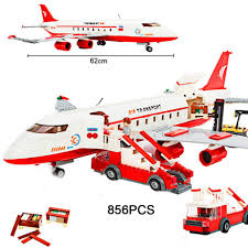100 Toys 4 Trucks Hot City Series Large Airliner Building Block Crew Figures Airplane