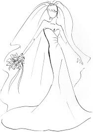 Wedding Dress clipart coloring page 5