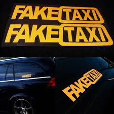 100 Funny Truck Pics 2Pcs FAKE TAXI Car Window Vinyl Decal Emblem Self