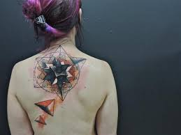 Back Neck Geometric Abstract Tattoo By Toko Loren