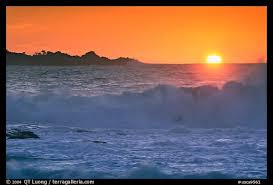Crashing Surf And Sunset Carmel River State Beach By The Sea California USA