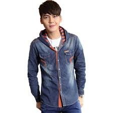 Best Korean Fashion 2015 Men Vintage Hooded Camisas Jeans Casual Shirt Jacket Male Swag Long Sleeve Brand Denim Shirts Xxxl Yt1297 Under 502