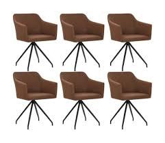 vidaxl esszimmerstühle drehbar 6 stk braun stoff