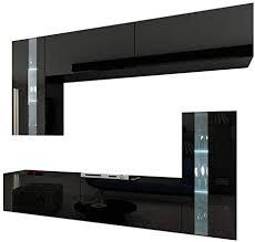 homedirectltd future 30 wohnwand anbauwand wand schrank möbel wohnzimmerschrank wohnzimmer tv schrank hochglanz weiß schwarz led rgb beleuchtung