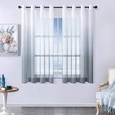 mrtrees voile gardinen farbverlauf leinenoptik transparent vorhang kurz tüllvorhang mit ösen grau 160 140cm h b modern für dekoration kinderzimmer