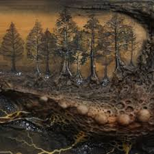 Mixed Media Lovecraft Inspired Abstract Landscape Painting Watercolor Creepy Art Pine Trees Veins Roots Monster Clay