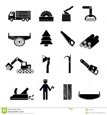 Woodworking Industry Icons Black Royalty Free Stock Images
