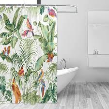 coosun dschungel vorhang frühlingsvögel duschvorhang set