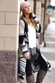 Wrap Me Up Long Aztec Hooded Cardigan Taupe