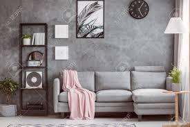 stilvolles wohnzimmer mit gemütlichem grauem ecksofa kleinem baum auf dem boden und schwarzer uhr an dunkler wand