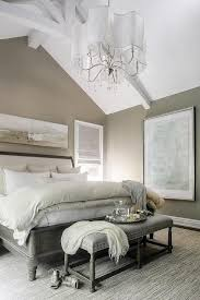 Taupe And Gray Bedroom Features A Wall Painted Lined With