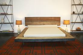 King Platform Bed With Leather Headboard by Float Platform Bed Walnut Frame White Leather Headboard With