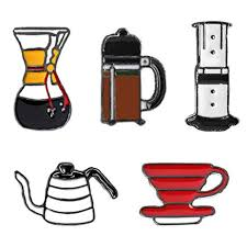SIVITE Cute Cartoon Pin Alloy Enamel Coffee Pot Cup Brooch Lapel Set For Clothes Hat