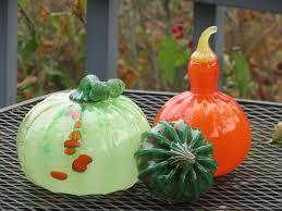 Glass Blown Pumpkins Seattle by Green U0026 Orange Squash Set With Big Pumpkin 3 Piece Set Of