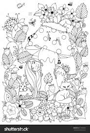 Zen Tangle Girl With Freckles Hid Behind A Mushroom Doodle Flowers Forest Animals Coloring Page